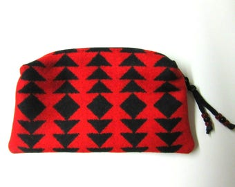 Large Wool Zippered Pouch Pencil Case Purse Organizer Cosmetic Accessory Bag Blanket Wool from Pendleton Oregon