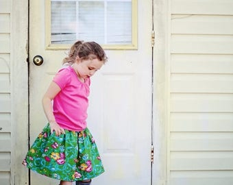 SALE Elastic Banded Skirt PDF Sewing Pattern Tutorial sizes newborn through 14 girls Instant