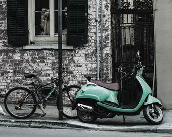 Modern Photography, New Orleans Wall Art, Colorful Scooter Print, French Quarter, Bicycle Art, NOLA Decor, Loft Art, Large Mod Decor