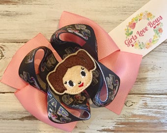 SUMMER SALE!! Inspired Leah Star Wars double Stacked hair bow toddler girl tween