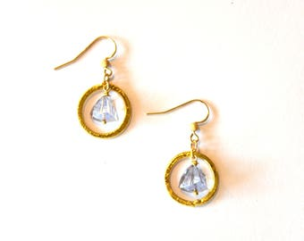 Blue and Gold Hoop Earrings / 14k Gold Filled Geometric Earrings with Blue Pyramid Cut Tanzanite Gemstones and Vermeil Gold Hoops