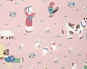 1940s Vintage Wallpaper by the Yard - Childrens Nursery Wallpaper Little Boy Blue and Bo Peep on Pink