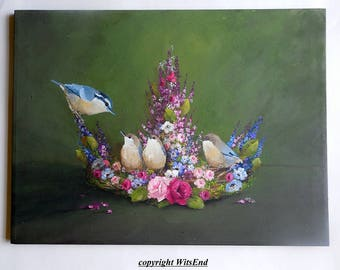 Flower Crown painting LARGE fantasy Bird art baby nuthatches roses still life