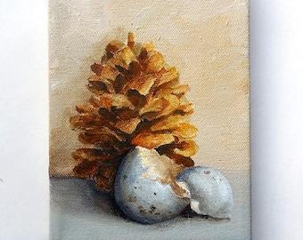 Pinecone egg painting original bird egg still life art