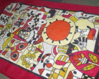 Vintage Red Graphic Mayan South Central America Motif Hand Towel Hilasal