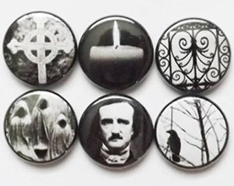 Fridge Magnets Poe Raven halloween party favor macabre goth crow stocking stuffer refrigerator spooky trick or treat bags horror gift pin