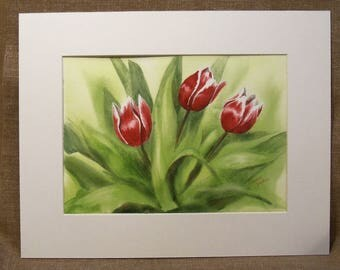 Original Watercolor Painting - Red Tulips - Floral Painting - Painting of Tulips - Wall Art - Home Decor - Painting of Spring Flowers