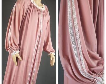 peignoir set vintage vassarette long sweeping silky nylon soft mauve pink robe nightgown size large lge l lace full length 70s lingerie