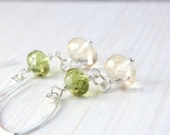 Multi Gemstone Earrings Sterling Silver Gemstone Jewelry Dangle Gem Earrings Stone Jewellery Green Peridot Citrine Two Tone Jewelry Gift
