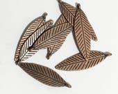 16 pcs antique copper double sided feather drop 30x10mm, alloy feather charm, antique copper feather charm