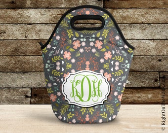 Lunch Bag, Flower Insulated Lunch Bag, Monogram Lunch Bag for Women, Lunch Tote