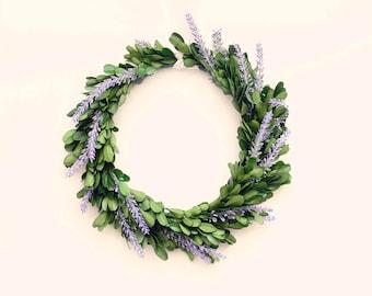 Lavender boxwood wreath, Natural home decor, Preserved wreath, Boxwood leaf hanging, Wedding decoration, preserved greenery hoop
