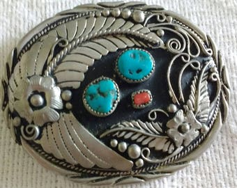 Vintage SS1 Silver Southwestern Turquoise & Coral Floral Belt Buckle