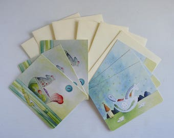 Unicorn cards, seahorse cards, six pack of 2x designs,  mixed card pack, blank with envelopes