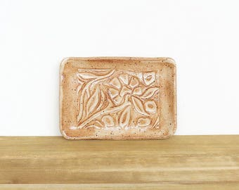Stamped Ceramic Soap Dish in Speckled Tan Glaze