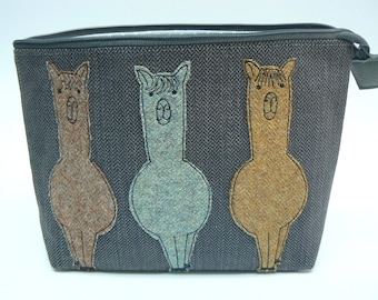 Tweedy Alpaca Trio applique small knitting project bag, zipped pouch
