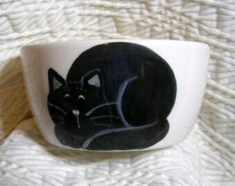 Black Cat Mini Pottery Bowl 6 Oz.  Paw Prints Inside by GMS