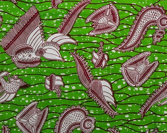 Green Ankara fabric, African fabric By the Yard, African Wax print, Yardage, African print, Dressmaking fabric, 100% cotton, Crevettes