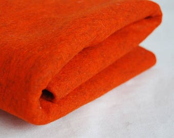 100% Pure Wool Felt Fabric - 1mm Thick - Made in Western Europe - Mottled Orange