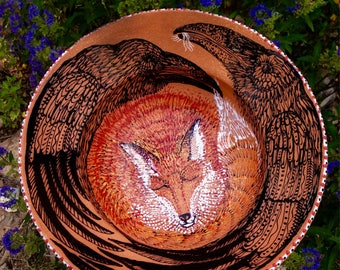 Custom Raven & Fox Blessing Bowl of Mica Clay from New Mexico