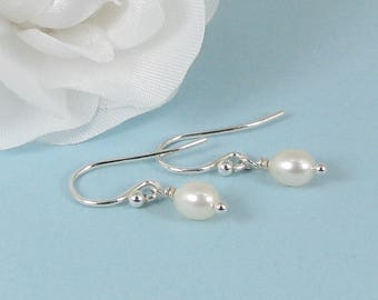 Very Tiny White Pearl and Sterling Silver Earrings