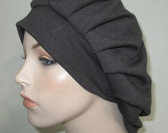 Womens Charcoal Gray  Pleated Snood, Hijab, Hair Loss, Chef Hat Religious Headcover