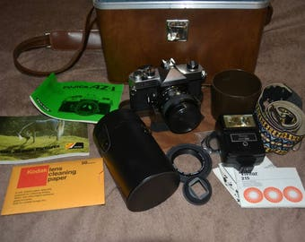 Vintage 35mm SLR Camera Fujica AZ-1 with 55mm F1.8 Lens Sigma 135mm F2.8 Lens Carrying Case Lots of Extras