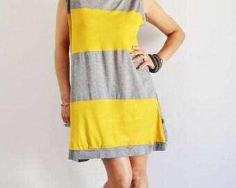 ON SALE Organic cotton dress,stripes dress, vest dress for women,women clothing, summer, mini dress,tunic dress,t shirt dress