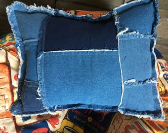 """Rustic Patched and Frayed denim blue jean pillow about 12"""" X 16"""""""