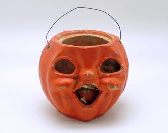 Vintage Halloween Decoration Jack O' Lantern Paper Mache Pumpkin