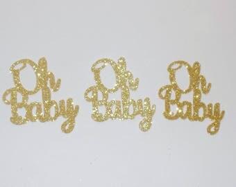Glitter Oh Baby Confetti, Baby Shower Confetti, Gender Reveal Confetti, Glitter Party Confetti, Sparkly Confetti, Baby Die Cuts