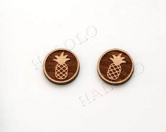 8 pcs Pineapple Wood Charm, Carved, Engraved, Earring Supplies, Cabochons (WC 171)