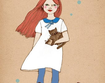 Sale Cat Girl 2  deluxe Print of original drawing redhead girl with cats