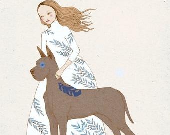 Sale Great Dane - girl with a big dog - Print of original illustration wall art