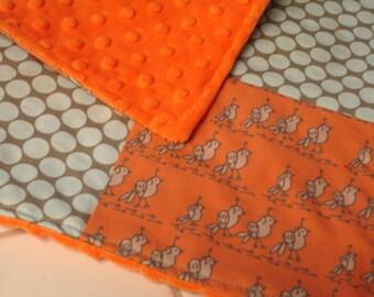 Quail Run Four Square Baby Minky Burp Cloth 12 x 12 READY TO SHIP