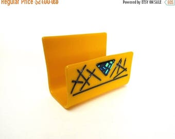 50 off business card holder desk fused glass yellow black office artistic business gift guy - Business Card Holder Desk