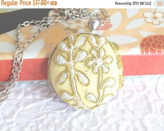 CLEARANCE - Yellow white lace embroidered necklace, lace pendant, floral necklace, womens accessory, fashion jewelry, bridal necklace, 1.5 i