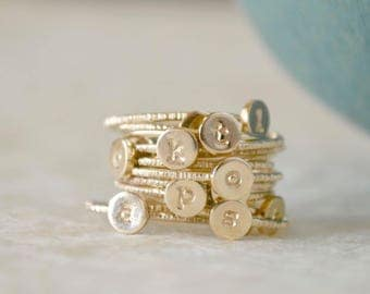 Stacking Initial Rings - Gold-Filled Set of Three, Custom, Personalized, Monogram Ring, Stackable Initials, Midi