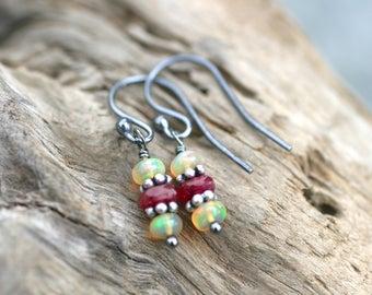 Ethiopian Opal Gemstone, Ruby Gemstone Earrings, Oxidized Sterling Silver Earrings, Gemstone Jewelry, October Birthstone Earrings