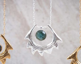 Spire Shell Necklace | Sterling Silver and Labradorite Necklace | Statement Necklace