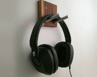 Headphone Wall Hook in Wood and Metal, Headset Earphones Hook, Gift For Musician, Gamer Gift, Gaming Headset Hooks, Computer Accessories