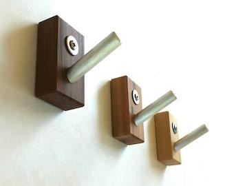 Wall Hooks, Modern Wall Hooks, Wood, Metal, Rustic, Modern Home, Bath, Home Organization, Housewarming, Recycled Wood