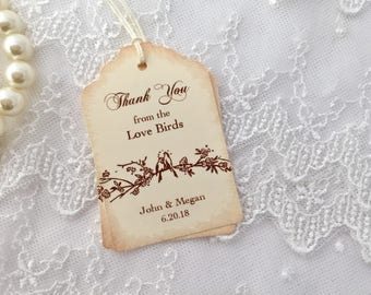 Wedding Favor Tags Personalized Wedding Tags Love Birds Set of 10