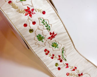Christmas Ribbon, Lion Brand Decoral Wired Fabric Ribbon 4 inches wide x 10 yards, Beaded Ribbon, Holly