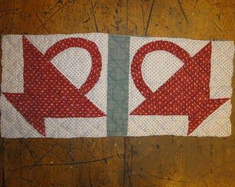 Antique Flower Basket Quilt Piece | Old Quilt Piece | Vintage Flower Basket Quilt Piece | Cutter Quilt Piece | Primitve Quilt Piece | 8 x 19