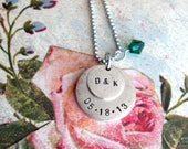 RESERVED for Austyn .. custom Double Charm pendant with Dainty Box Link chain and Gemstone