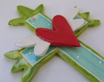 Mexican folk art Ceramic Cross with whimsical winged craft heart & polka-dots