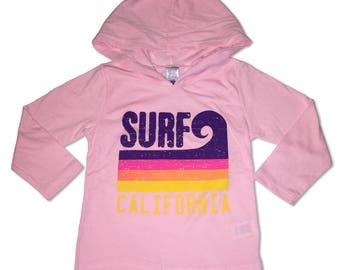 Surf California Wave Stripe Pink Hooded Tee