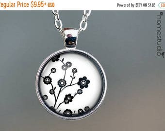 ON SALE - Cherry Blosssoms (WHT) : Glass Dome Necklace, Pendant or Keychain Key Ring. Gift Present metal round art photo jewelry by HomeStud