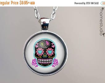 ON SALE - Sugar Skull (WHT) : Glass Dome Necklace, Pendant or Keychain Key Ring. Gift Present metal round art photo jewelry by HomeStudio